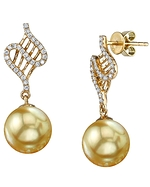 Golden South Sea Pearl & Diamond Nancy Earrings