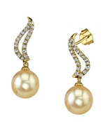 Golden Pearl & Diamond Olivia Earrings