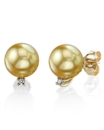Golden South Sea Pearl & Diamond Sasha Earrings