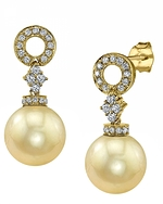 Golden Pearl & Diamond Vanessa Earrings