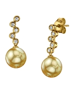 Golden South Sea Pearl & Diamond Wendy Earrings