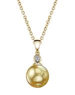 Golden Pearl & Diamond Michelle Pendant