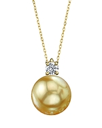 Golden South Sea Pearl & Diamond Ellie Pendant