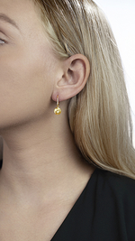 Golden Pearl Susan Earrings - Model Image