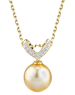 Golden Pearl & Diamond Belissima Pendant