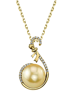Golden South Sea Pearl & Diamond Courtney Pendant