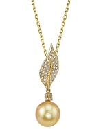 Golden Pearl & Diamond Eva Pendant