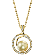 Golden Pearl & Diamond Kerri Pendant