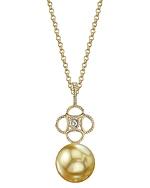 Golden South Sea Pearl & Diamond Lacy Pendant