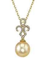 Golden Pearl & Diamond Paige Pendant