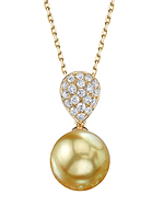 Golden Pearl & Diamond Sofia Pendant