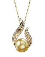 Golden Pearl & Diamond Tiara Pendant