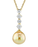 Golden Pearl & Diamond Julia Pendant