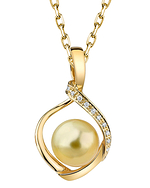 Golden Pearl & Diamond Alexis Pendant