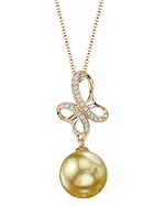 Golden Pearl & Diamond Aiden Pendant
