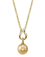 Golden Pearl & Diamond Amelia Pendant