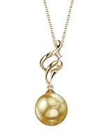 Golden Pearl & Diamond Aria Pendant