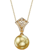 Golden Pearl & Diamond Ava Pendant