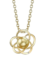 Golden Pearl & Diamond Avery Pendant
