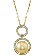 Golden Pearl & Diamond Cameron Pendant
