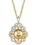 Golden Pearl & Diamond Betty Pendant