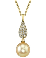Golden South Sea Pearl & Diamond Brooklyn Pendant