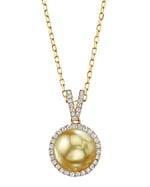 Golden South Sea Pearl & Diamond Celia Pendant
