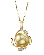 Golden Pearl & Diamond Debra Pendant