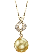 Golden Pearl & Diamond Elsa Pendant