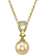 Golden Pearl & Diamond Florence Pendant