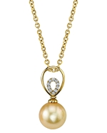 Golden South Sea Pearl & Diamond Jocelyn Pendant