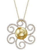 Golden Pearl & Diamond Kirsten Pendant
