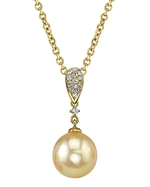 Golden South Sea Pearl & Diamond Madeline Pendant