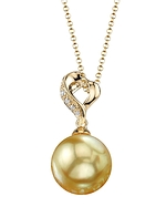 Golden Pearl & Diamond Melissa Pendant