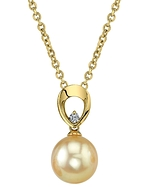 Golden South Sea Pearl & Diamond Morgan Pendant