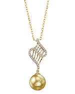 Golden South Sea Pearl & Diamond Nancy Pendant