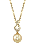 Golden Pearl & Diamond Noa Pendant