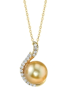 Golden Pearl & Diamond Rebecca Pendant