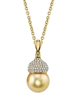 Golden Pearl & Diamond Riley Pendant