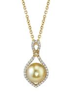 Golden Pearl & Diamond Ruth Pendant
