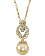 Golden Pearl & Diamond Casey Pendant