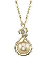 Golden Pearl & Diamond Taylor Pendant