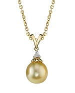 Golden Pearl & Diamond Tracy Pendant