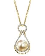 Golden Pearl & Diamond Victoria Pendant