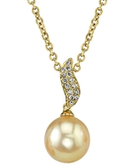 Golden Pearl & Diamond Zoey Pendant