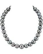 CERTIFIED 12-14mm Green Tahitian South Sea Pearl Necklace - AAAA Quality