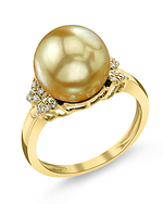Golden South Sea Pearl & Diamond Nora Ring