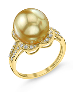 Golden South Sea Pearl & Diamond Rafaella Ring