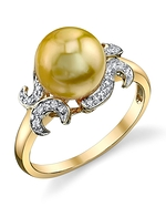Golden Pearl & Diamond Crown Jewel Ring