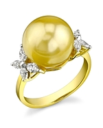 Golden Pearl & Diamond Floral Ring